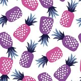 Concept pink and ultraviolet pineapple seamless pattern Stock Photography