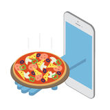 Concept, pizza delivery under the order. Fast delivery over the Stock Images