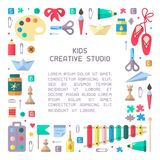Concept of placard with kids creative studio information. Flat style vector illustration. Suitable for advertisement or placard decor vector illustration