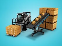 Concept of placement of goods in paper boxes with forklift from conveyor belt 3d render on blue background with shadow. Concept of placement of goods in paper stock illustration