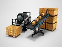 Concept of placement of goods in paper boxes with forklift from conveyor belt 3d render on gray background with shadow. Concept of placement of goods in paper stock illustration