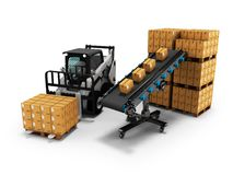 Concept of placement of goods in paper boxes with forklift from conveyor belt 3d render on white background with shadow. Concept of placement of goods in paper vector illustration