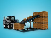 Concept of placement of goods in paper boxes with mini forklift from conveyor belt 3d render on blue background with shadow. Concept of placement of goods in vector illustration