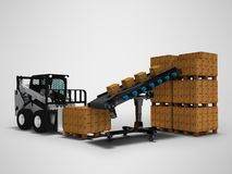 Concept of placement of goods in paper boxes with mini forklift from conveyor belt 3d render on gray background with shadow. Concept of placement of goods in vector illustration