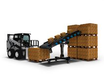 Concept of placement of goods in paper boxes with mini forklift from conveyor belt 3d render on white background with shadow. Concept of placement of goods in royalty free illustration