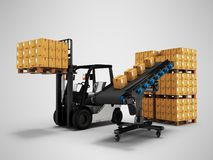 The concept of placing pallet of goods with forklift from conveyor 3d render on gray background with shadow. The concept of placing pallet of goods with forklift royalty free illustration