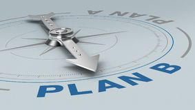 Concept of plan b. Compass with the needle pointing at the text: plan b, concept of alternative solution 3d render Stock Photo