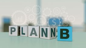 Concept of plan b. Row of dices with text: plan b, concept of different strategy and solution, office interior and gears on background 3d render Stock Image