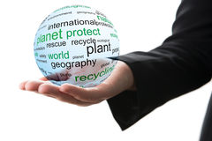 Concept of planet protect stock photography