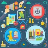 Concept plat d'affaires et de finances Les icônes de calibre d'infographics de stratégie commerciale en cercles conçoivent, des é illustration stock