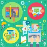 Concept plat d'apps de web design et de services de téléphone portable Icônes pour le web design, développement d'application Web illustration libre de droits