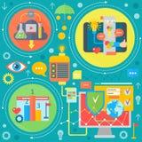 Concept plat d'apps de web design et de services de téléphone portable Icônes pour le web design, développement d'application Web illustration stock