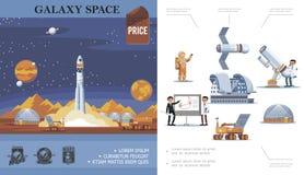 Concept plat d'exploration d'espace illustration stock