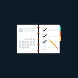 Concept plat d'icône de conception de liste d'ordre du jour Photographie stock libre de droits