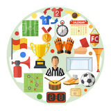 Concept plat d'icône du football Photos stock