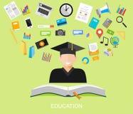 Concept plat d'illustration de conception d'éducation Images stock