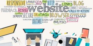Concept plat d'illustration de conception pour le développement de site Web Photos libres de droits