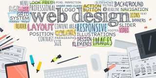 Concept plat d'illustration de conception pour le web design Images libres de droits