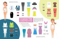 Concept plat d'Infographic de création de caractère de femme Image stock
