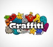 Concept plat de composition en caractères de graffiti illustration stock