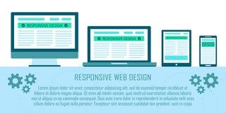 Concept plat de conception sensible de site Web dans des appareils électroniques : ordinateur, ordinateur portable, comprimé, tél Photographie stock libre de droits