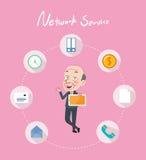 Concept plat de dessin de service réseau de conception de personnages Photos libres de droits