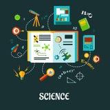 Concept plat de la science créative illustration stock