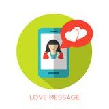 Concept plat de message d'amour Icône de jour de valentines pour Images libres de droits
