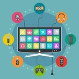 Concept plat de vecteur de conception de Smart TV Photographie stock libre de droits