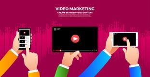 Concept plat de vlog de conception Créez le contenu visuel et gagnez l'argent V Images libres de droits