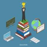 Concept plat isométrique de vecteur d'éducation Image libre de droits