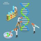 Concept plat isométrique de vecteur de génie génétique Images stock