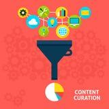 Concept plat satisfait de Curation illustration stock