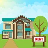 Concept - plattelandshuisje voor huur Vlakke stijl royalty-vrije illustratie