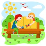 Concept with playing kids in nature. Flat style vector illustration stock illustration