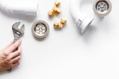 Concept plumbing work top view on white background Stock Image