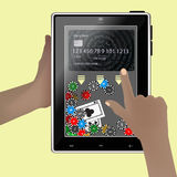 Concept of poker through the Internet. Hand hold smart tablet tablet background realistic with abstract geometric design,  on yellow background. Vector Royalty Free Stock Images