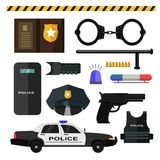 Concept of police equipment isolated on white Royalty Free Stock Photo