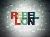 Concept politique : Rébellion sur le fond de papier de données numériques illustration libre de droits