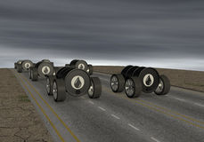 Concept of polluting energy. Oil barrels like cars on a road and a dark sky, concept of polluting energy (3d render Stock Photography
