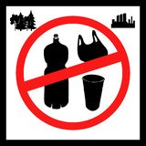 The concept of pollution problems. Say no to plastic bags, bottles, glasses. The picture is a poster calling to stop the vector illustration
