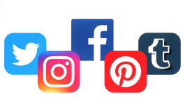 Concept of popular social media icons printed on paper Stock Images