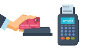 Concept of pos terminal and payments systems. Financial transactions. Hand hold a bank card and conducts it on the terminal for the successful payment process Stock Photography