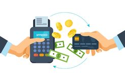 Concept of pos terminal and payments systems. Financial transactions. Pos terminal and payments systems. Financial transactions. Hand hold a bank card and Royalty Free Stock Image