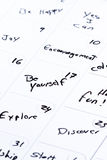 Concept for a positive month. Dry erase calendar with different positive messages on every different day as a concept for a positive good month Stock Images