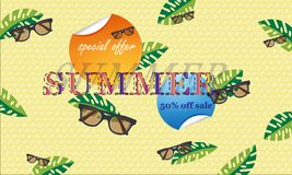 The concept of a postcard on a summer theme with summer attributes.  Vector illustration, banner. - Images vectorielles. The concept of a postcard on a summer vector illustration