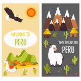 Concept posters of Peru with cute lamas and tourist destinations.  vector illustration