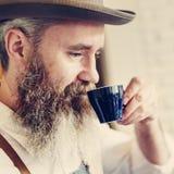 Concept potable de café d'homme de café de propriétaire Photo stock