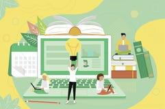 Concept pour des cours de langues, apprentissage en ligne illustration libre de droits