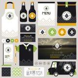 Concept pour la moquerie d'identité de restaurant de bière de métier vers le haut du calibre illustration stock